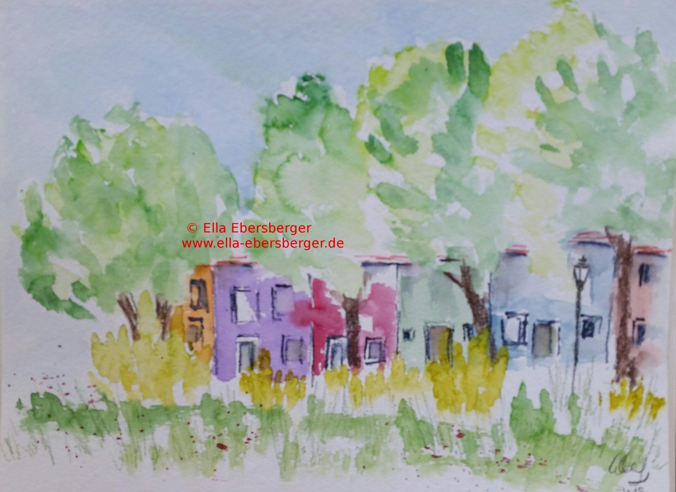 Häuser Unter Bäumen In Burano