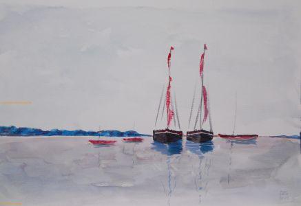 Segelboote an der Küste